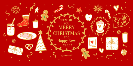Banner Cozy gold hand drawn white on card. Milk cocoa and cookies for Santa. Vector set illustration concept Merry Christmas mood isolated on red background