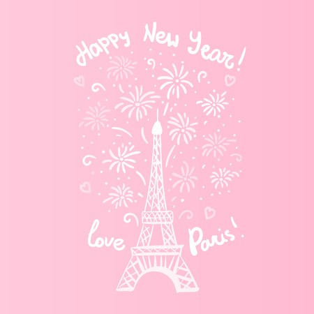 Happy New Year in Paris Card. Vector illustration cute white ink Eiffel Tower with salute. Hand drawn white isolated on pink background