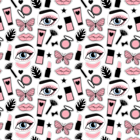 Seamless pattern fashion style. Set sign beauty makeup for cute girls. Abstract cosmetic bottles,face eye brow , lips and butterfly hand drawing. Vector illustration is isolated on a white background.