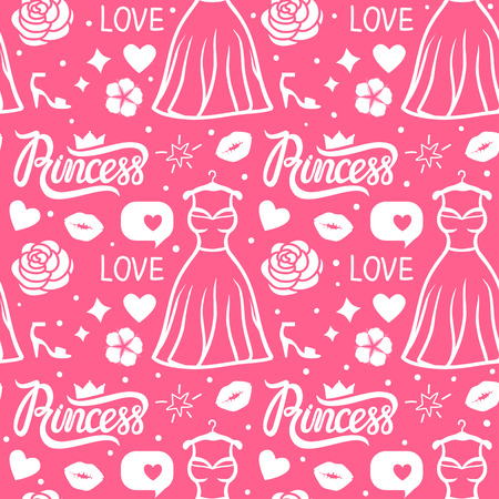 Princess seamless pattern style. Vector white hand drawing dress, inscription, flower, kiss and shoe. Pink girl surface design.