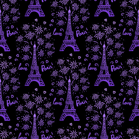 Purple Happy New Year in Paris seamless pattern. Vector illustration ink Eiffel Tower with salute. Hand drawn white isolated on black background
