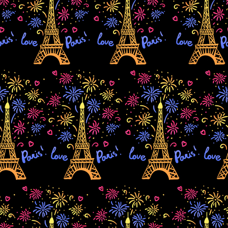 Colorful Happy New Year in Paris seamless pattern. Vector illustration ink Eiffel Tower with salute. Hand drawn white isolated on black background Banque d'images