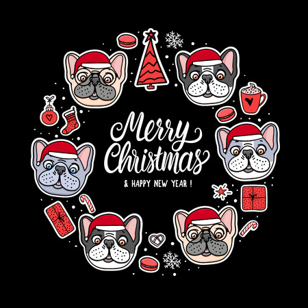 Card French and American Bulldog Puppy in Merry Christmas santa hats. Frame lettering. Vector Illustration dog hand drawn stickers