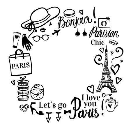 Set shopping black sketch fashion illustration. Womens dream travel to Paris. Frame with space for text. Vector isolated on white background.