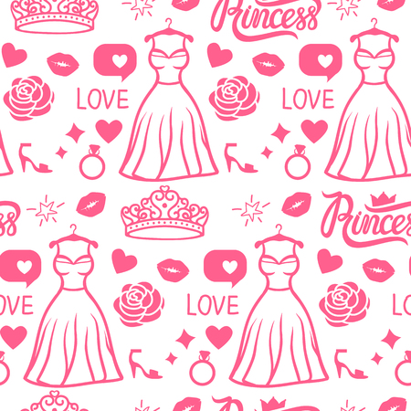 Vector Princess seamless pattern style. Pink Hand drawing dress with diadem, inscription, rose, kiss ring shoe. Girly surface design.