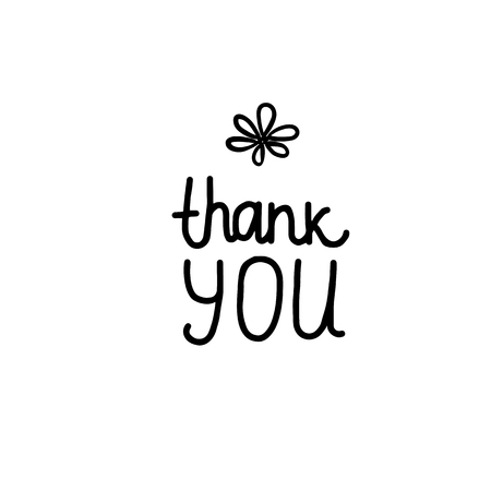 Thank YOU lettering inscription. Positive motivate phrase freehand type for self improvement. Black hand drawn Vector isolated on white background. Vector Illustration