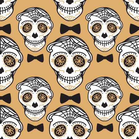 Vector Seamless pattern Gold Calavera skull with bow tie. Hand drawn Virile male design texture on black background. Illustration