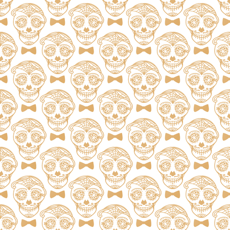 Vector Seamless pattern Gold Calavera skull with bow tie. Hand drawn Virile male design texture on white background.