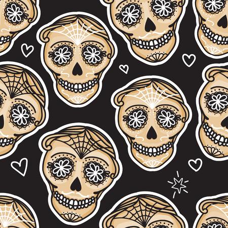 Vector Seamless pattern Gold Calavera skull. Hand drawn Virile male design texture on black background Illustration