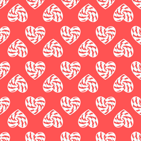 Caramel heart seamless pattern. Vector illustration isolated on red background design Candy shop