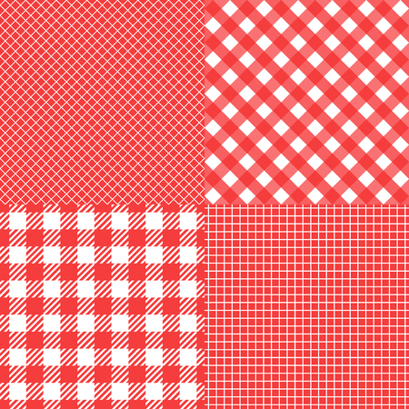 Set Vector Seamless pattern. Cell background red color fashion cloth in a cage. Abstract checkered backdrop on white.