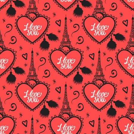 Heart with lace and eiffel tower. Seamless pattern. Vector illustration. Velentines day design. I love you lettering. Hand drawn black isolated on red background
