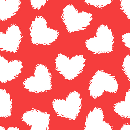 Heart seamess pattern texture red and white background. Vector design surface Valentines day Иллюстрация