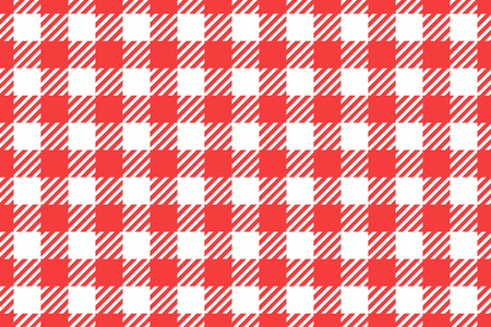 Vector Wide Seamless pattern. Cell background red color fashion cloth in a cage. Abstract checkered backdrop on white. Vecteurs