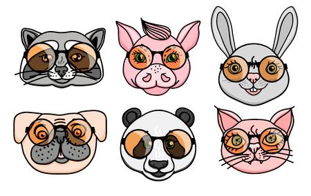 Set Animal character head dog, raccoon, pig, panda, cat with fun round glasses. Vector character illustration Illustration