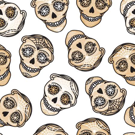 Vector Seamless pattern Gold Calavera skull. Hand drawn Virile male design texture on white background.