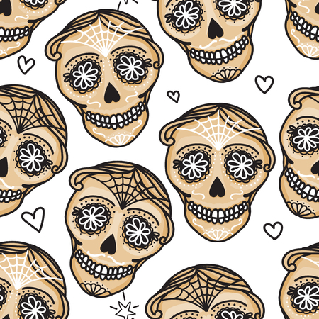 Vector Seamless pattern Gold color Calavera skull. Hand drawn Virile male design texture on white background.