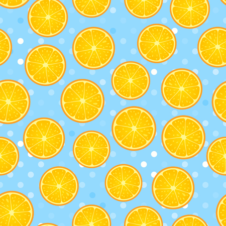 Citrus round piece. Lemon and orange Seamless pattern fruity. Vector illustration on blue polka dot textured background