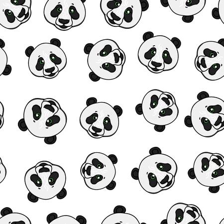 Patrón sin fisuras de cabeza de panda. Ilustración de dibujado a mano de vector aislado sobre fondo blanco. Ilustración de vector