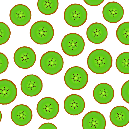 Kiwi round pieces. Seamless pattern fruity. Vector illustration isolated on white background