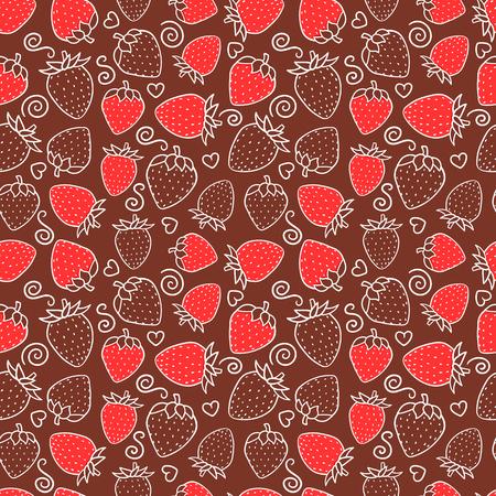 Fresa dulce baya roja de patrones sin fisuras. Diseño de textura de superficie. Dibujado a mano ilustración vectorial de contorno de línea blanca sobre fondo de chocolate
