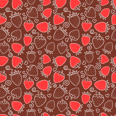 Strawberry sweet red berry Seamless pattern. Design surface texture. Hand drawn white line contour Vector illustration on chocolate background