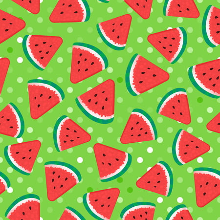 Watermelon pieces. Seamless pattern fruity. Vector illustration on green background