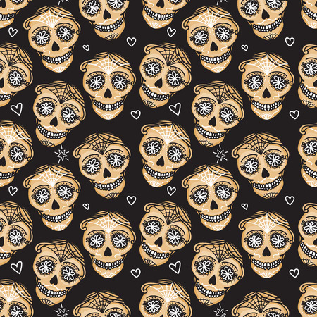 Vector Seamless pattern Gold Calavera skull. Hand drawn Virile male design texture on black background. Mexican day of the dead concept