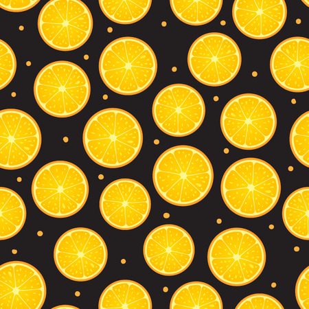 Citrus round piece Seamless pattern surface design. Vector illustration isolated on dark background 일러스트