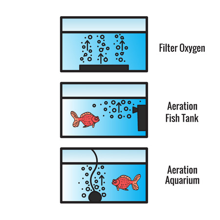 Different types of bubble filters for the fish tank. The scheme is isolated on a white background. Vectores