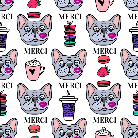 Cute dog with a mug of coffee and macaroons french style Merci. Seamless surface design. Vector hand drawn sketch isolated on white background.