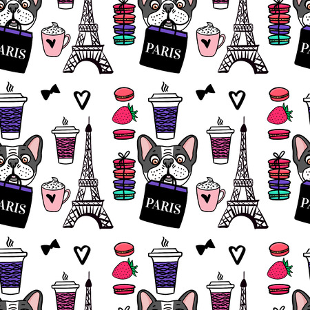 Seamless pattern Paris coffe and macaroons. Eiffel tower. Surface design. Vector sketch illustration. A dog is holding a shopping bag.