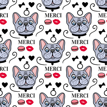 Cute dog french style Merci. Seamless pattern surface design. Vector hand drawn sketch isolated on white background. Illustration