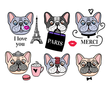 French Bulldog set. Eiffel Tower and cute dog faces. Vector hand drawn isolated on white background