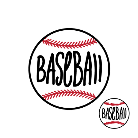 Baseball ball with hand drawn inscription isolated on white background Vector illustration Illustration