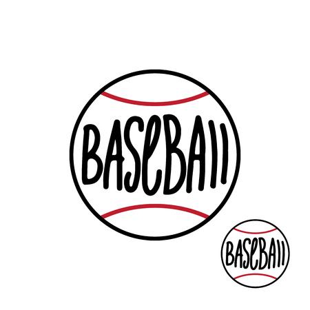 Baseball ball with hand drawn inscription isolated on white background Vector illustration Ilustração