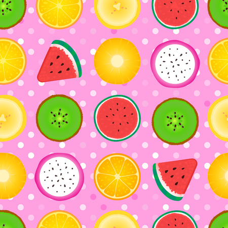 Seamless pattern Abstract girly texture of fruit slices. Vector illustration isolated on pink background. Surface texture design with watermelon, kiwi, pineapple, orange, banana 일러스트