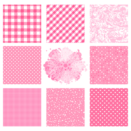 Set seamless patterns with pink color texture. Different polka dot, checkered pattern. Vector Abstract surface design. Vectores