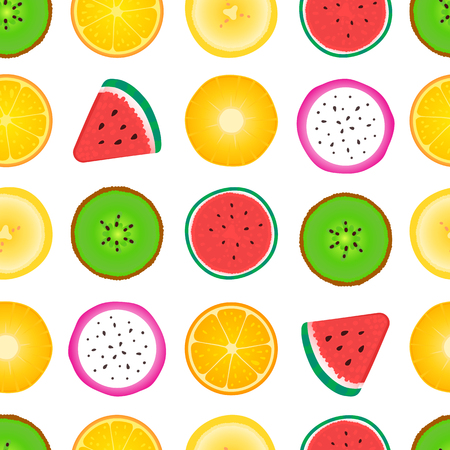 Seamless pattern of fruit slices. Vector isolated on white background. Surface design with watermelon, kiwi, pineapple, orange, banana Illusztráció