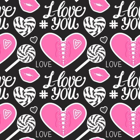 I love you seamless pattern. Pink Heart corset, caramel, kiss, lollipop and lettering type. Vector illustration isolated on dark background.