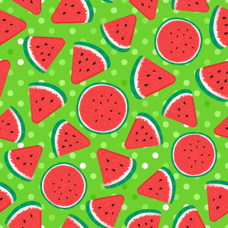 Seamless pattern surface design. Vector illustration on green texture dots background. Watermelon pieces in the shape of a round and triangular