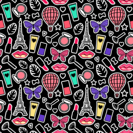 Bright Paris cosmetic background. Colorfull fashion signs Seamless pattern modern design. Vector illustration Abstract texture with hand drawn girly stickers.