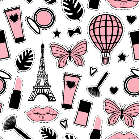Abstract cosmetic hand drawing. Seamless pattern fashion style. Paris Eiffel Tower sign. Vector illustration girly stickers isolated on white background Ilustrace