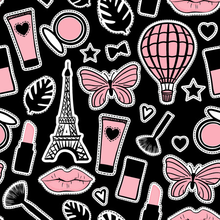 Abstract cosmetic hand drawing. Seamless pattern fashion style. Paris Eiffel Tower sign. Vector illustration girly stickers on black background