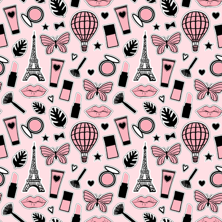 Abstract Seamless pattern fashion style. Cosmetic hand drawing. Paris Eiffel Tower sign. Vector illustration girly stickers Cute pink background Illustration