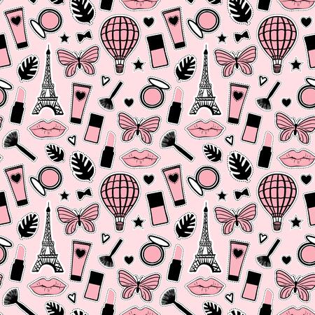 Style de mode abstrait modèle sans couture. Dessin à la main cosmétique. Signe de la Tour Eiffel de Paris. Vector illustration autocollants girly fond rose mignon