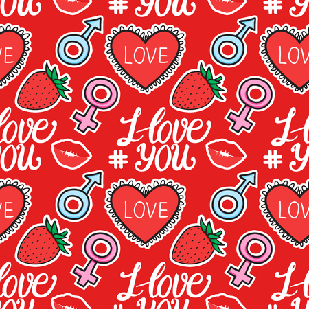 Seamless pattern I love you text with heart, sign male female, kiss, strawberry hand drawn stikers on red background. Vector illustration Vettoriali