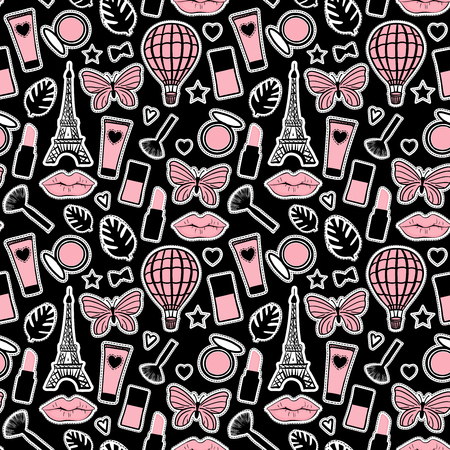 Seamless pattern fashion style. Abstract cosmetic hand drawing. Paris Eiffel Tower sign. Vector illustration girly stickers on black background Иллюстрация