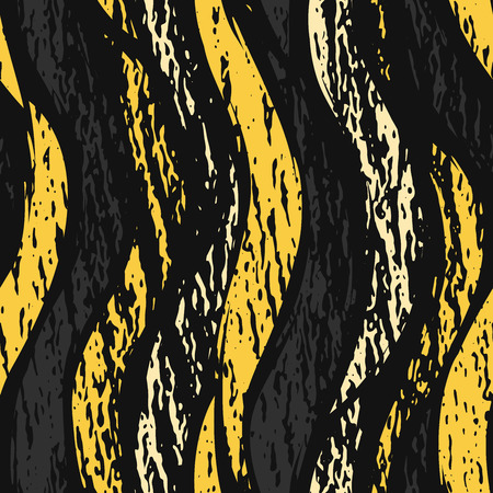 Vector dark grunge seamless pattern. Abstract vertical shapes with texture. Urban art style. Trendy background in bright yellow color on black background
