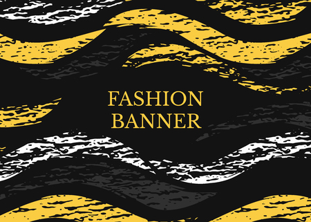 Vector dark grunge banner. Abstract horizontal shapes with texture. Urban art style. Trendy background in bright yellow color on black background Illustration